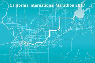 Running Digital Art - California Marathon Aqua by Big City Artwork