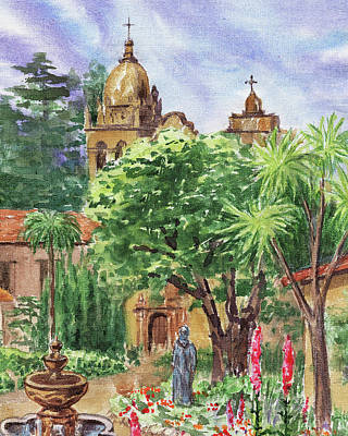 Painting - California Mission Carmel Basilica by Irina Sztukowski