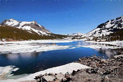 Painting - California Mountains -  Snow Filled Lake Tioga Ap by Dan Carmichael