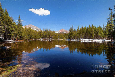 Digital Art - California Mountains -  Snowy Lake On Tioga Road Ap by Dan Carmichael