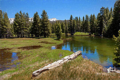 Digital Art - California Mountains -  Tioga Lake On Tioga Pass Ap by Dan Carmichael