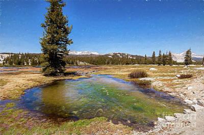 Painting - California Mountains -  Water Pond In Tuolumne Meadows Ap by Dan Carmichael