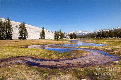 Digital Art - California Mountains -  Winding Creek In Tuolumne Ap by Dan Carmichael
