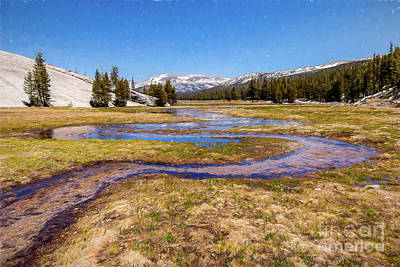 Painting - California Mountains -  Winding Creek In Tuolumne II Ap by Dan Carmichael