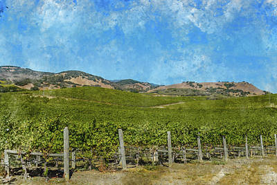 Soil Digital Art - California - Napa Valley Vineyard by Brandon Bourdages