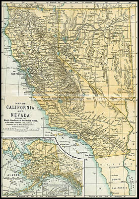 Photograph - California Nevada Alaska Antique Map 1891 by Phil Cardamone