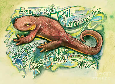 Newts Painting - California Newt by Leah Jay