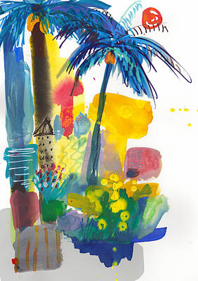 Painting - California Palm Trees, Sunny Day by Amara Dacer