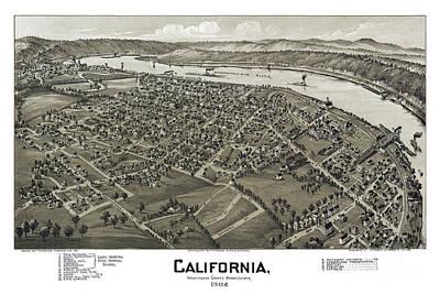 Old Map Painting - California - Pennsylvania - 1902 by Pablo Romero