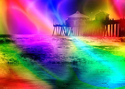 California Pier Pop Art Art Print by Abstract Angel Artist Stephen K