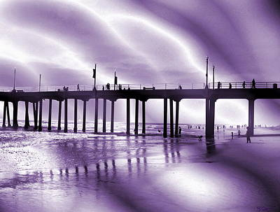 California Pier Silhouette Art Print by Abstract Angel Artist Stephen K
