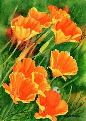 Orange Poppy Painting - California Poppies Faces Up by Sharon Freeman