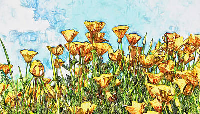 Yellow Photograph - California Poppies by John K Woodruff