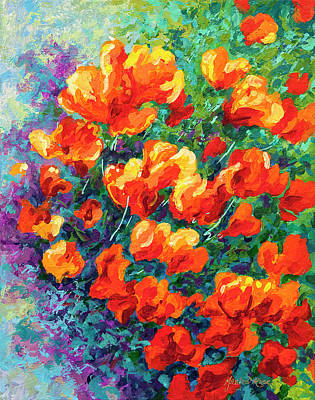 Abstracted Painting - California Poppies by Marion Rose