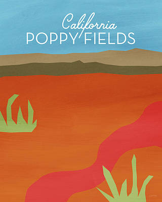 Travel Poster Mixed Media - California Poppy Fields- Art By Linda Woods by Linda Woods