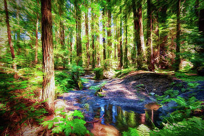Painting - California Redwood Forest Wetlands Ap by Dan Carmichael