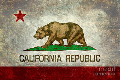 California Republic State Flag Retro Style Art Print