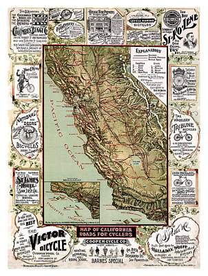 Old Map Painting - California - Roads Map For Cyclers - United States - 1895 by Pablo Romero