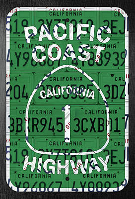 Transportation Mixed Media - California Route 1 Pacific Coast Highway Sign Recycled Vintage License Plate Art by Design Turnpike