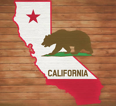 Mixed Media - California Rustic Map On Wood by Dan Sproul