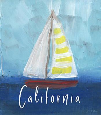 Ocean Mixed Media - California Sailing- Art By Linda Woods by Linda Woods