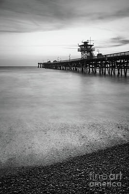 San Clemente Beach Photograph - California San Clemente Pier Black And White Picture by Paul Velgos