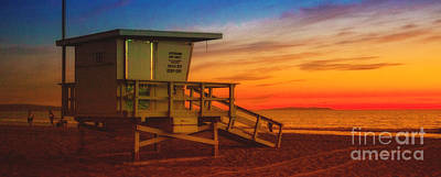 Photograph - California Santa Monica Beach Lifeguard Tower At Sunset   by Jerry Cowart