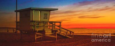 Photograph - California Santa Monica Beach Lifeguard Tower At Sunset   by Jerry Cowart