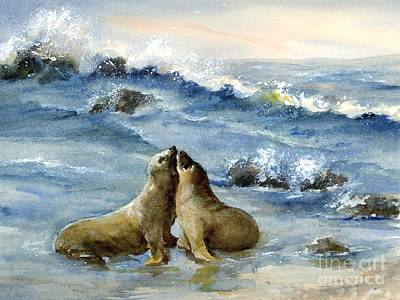Painting - California Sea Lions by Virginia Potter