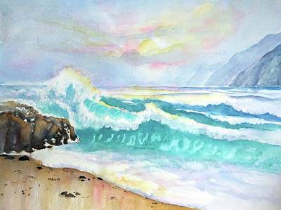 Crashing Wave Painting - California Seascape At Sunset by Carlin Blahnik CarlinArtWatercolor