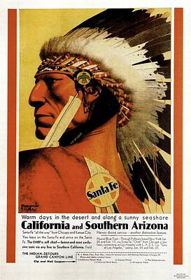 Landmarks Mixed Media - California - Southern Arizona - Red Indian - Native American - Santa Fe - Vintage Advertising Poster by Studio Grafiikka