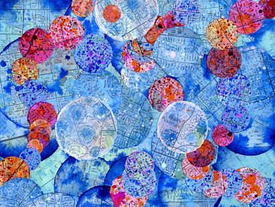 California Splatter Map - Blue Circles Original by Sean Corcoran
