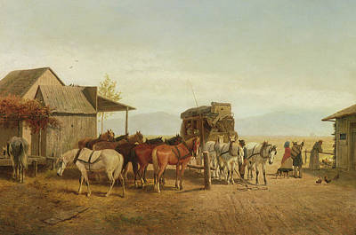 The Hen Painting - California Stagecoach Halt by William Hahn