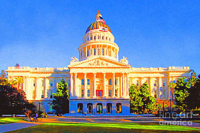 Republican Digital Art - California State Capitol . Painterly by Wingsdomain Art and Photography