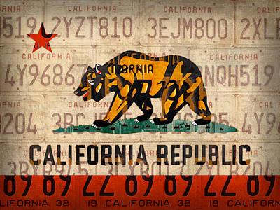 Recycle Mixed Media - California State Flag Recycled Vintage License Plate Art by Design Turnpike