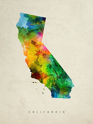 Vintage Map Painting - California State Map 01 by Aged Pixel