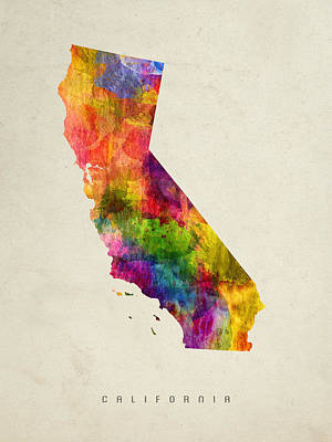Vintage Map Painting - California State Map 02 by Aged Pixel