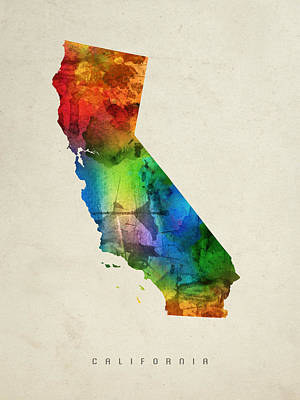Vintage Map Painting - California State Map 03 by Aged Pixel