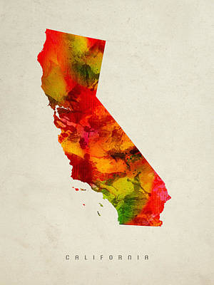 Vintage Map Painting - California State Map 04 by Aged Pixel