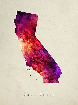 California State Map 05 Art Print by Aged Pixel