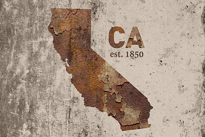 California State Map Industrial Rusted Metal On Cement Wall With Founding Date Series 007 Art Print by Design Turnpike