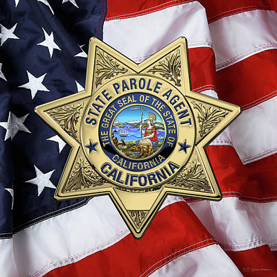 California State Parole Agent Badge Over American Flag Art Print by Serge Averbukh