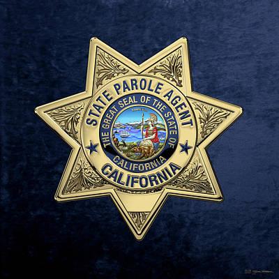 California State Parole Agent Badge Over Blue Velvet Art Print by Serge Averbukh