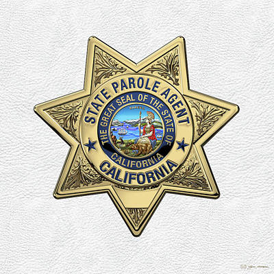 California State Parole Agent Badge Over White Leather Art Print by Serge Averbukh