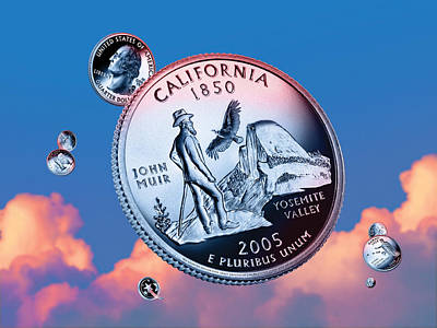 Condor Digital Art - California State Quarter - Sky Coin 31 by Garrett Burke