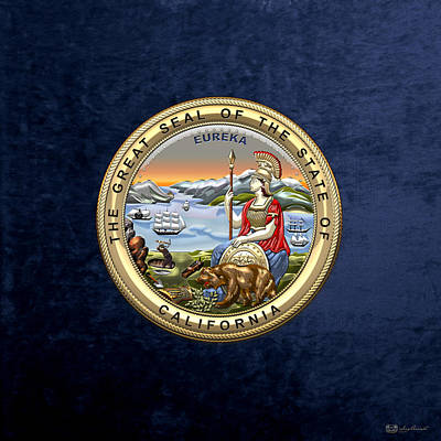 Digital Art - California State Seal Over Blue Velvet by Serge Averbukh
