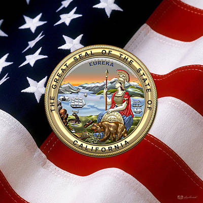 Digital Art - California State Seal Over U.s. Flag by Serge Averbukh