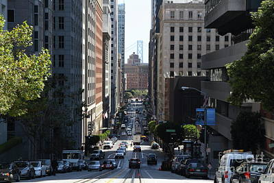Photograph - California Street In San Francisco 7d7186 by San Francisco Art and Photography
