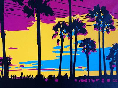 California Sunset Art Print by Leon Keay