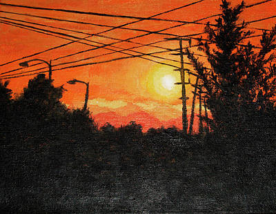 Powerlines Painting - California Sunset by Ra A